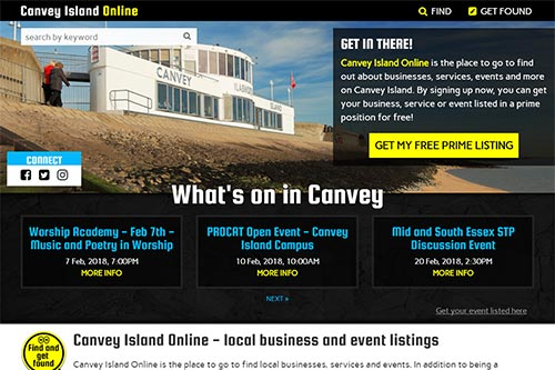 Custom website for Canvey Island Online